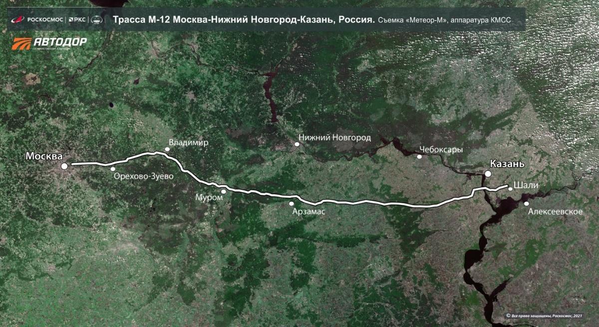 Новую трассу, проходящую через Нижегородскую область, уже видно из космоса. - фото 1